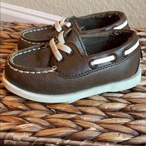 Brown toddlers/infants slip on boat shoes